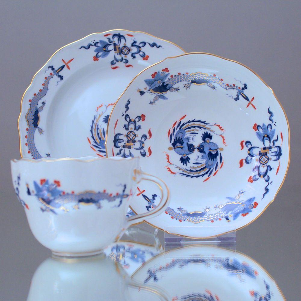 Meissen Keramik: Meissen: Kaffeegedeck Hofdrache Goldgeschuppt, Blau Rot