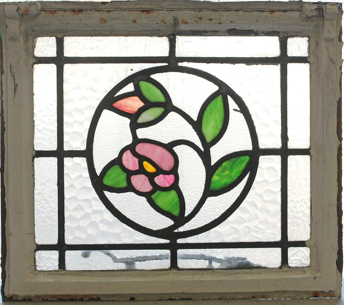 Antique Stained Glass Window Four Color Ivy Bloom |