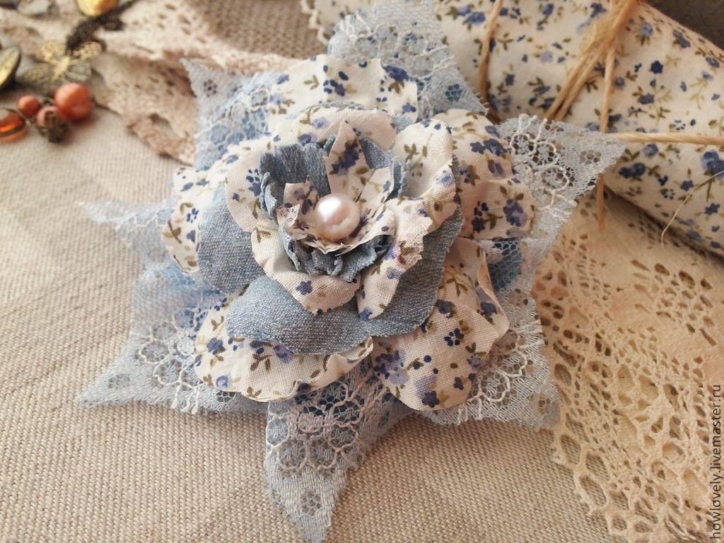 Купить Цветок брошь в стиле бохо, деним - цветы из ткани броши, цветы из джинсовой ткани