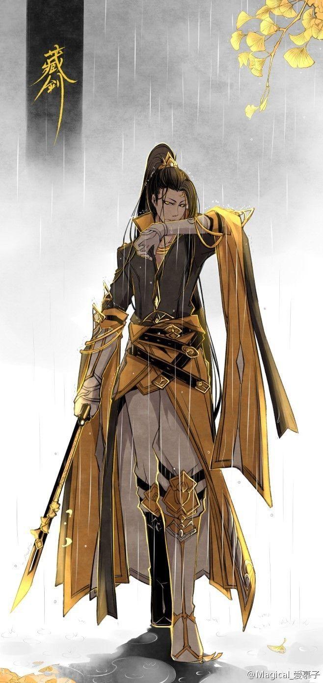 Asian prince man male fighter noble warrior swordsman gold