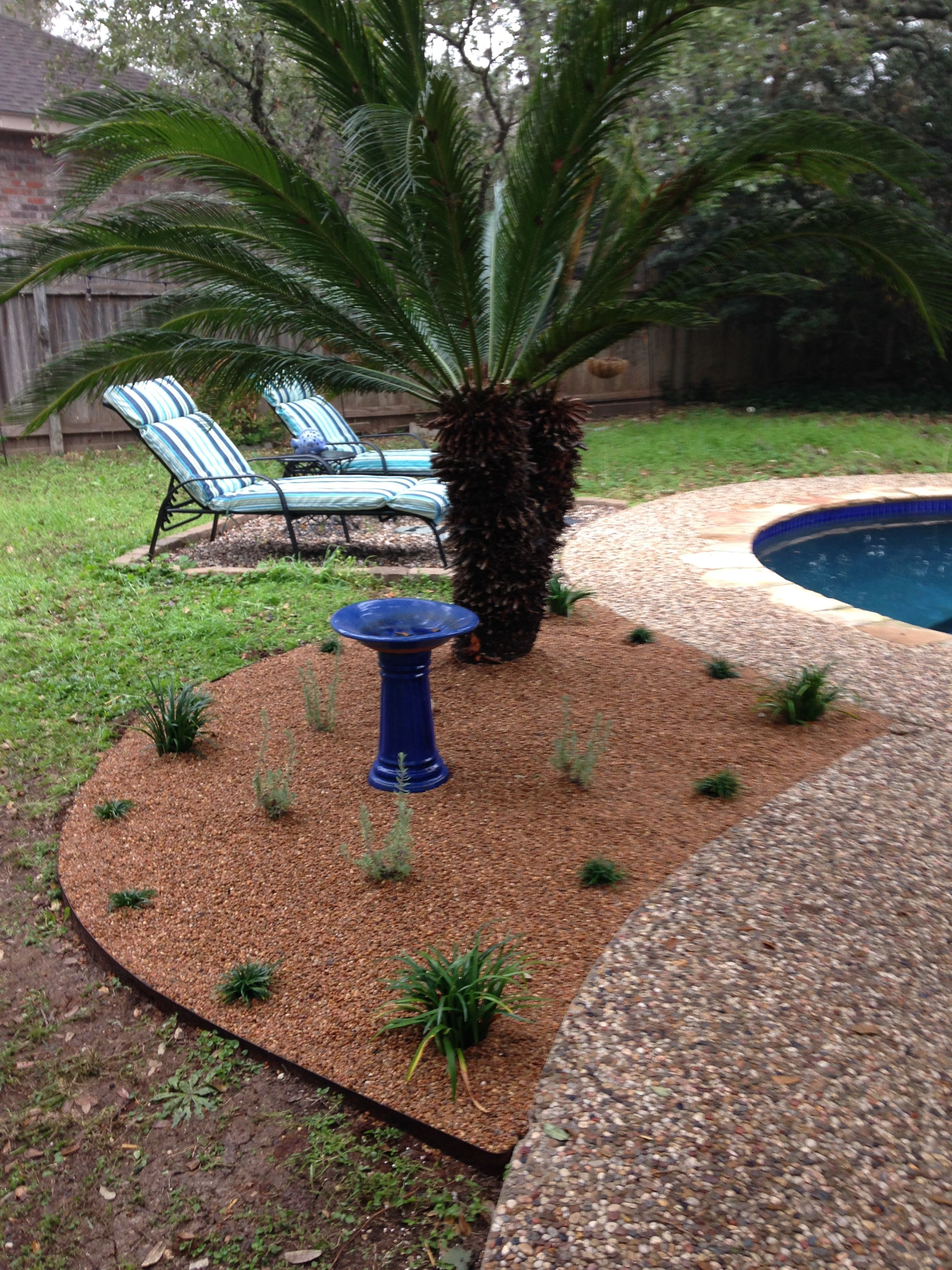 Updated flower bed with pea gravel and various grasses