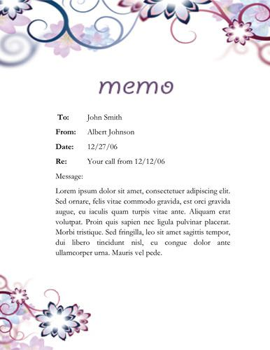 Floral designed memo Memorandum Templates in Word Pinterest - formal memo template