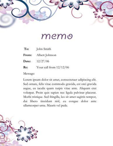 Floral Designed Memo  Memorandum Templates In Word