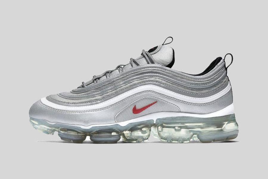 Nike Air VaporMax 97 Silver Bullet Metallic Silver Varsity Red White  AJ7291-002  Nike  AthleticSneakers b073ab366