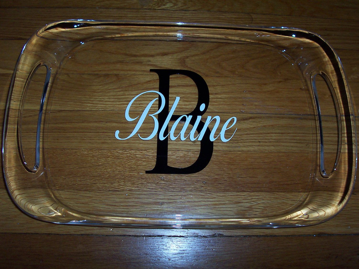 personalized large acrylic serving tray with handles gift wrapped