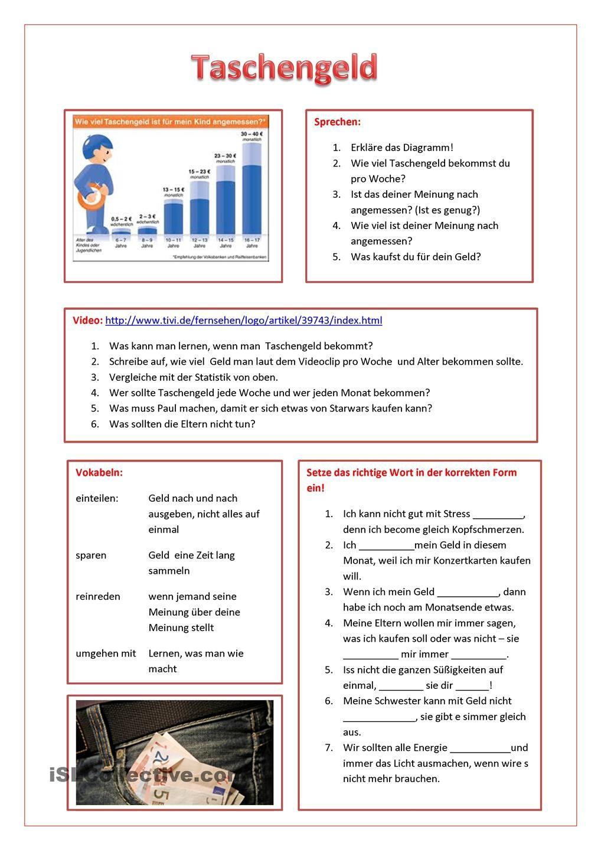 taschengeld | Finanzen, Arbeitsblätter und Statistik