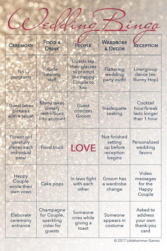 Winter Wedding Ideas Wedding Bingo Is A Wedding Reception Game For
