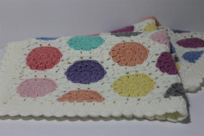 Baby Blanket   Crochet Wool Hexie   Pram Cot   Multi Colour   Made to Order