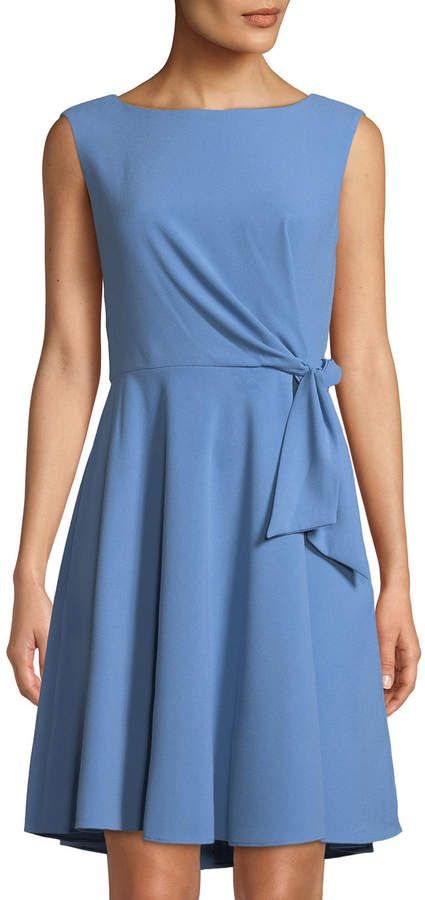 d024c03174d Tahari ASL Sleeveless Tie-Side Fit- -Flare Crepe Dress