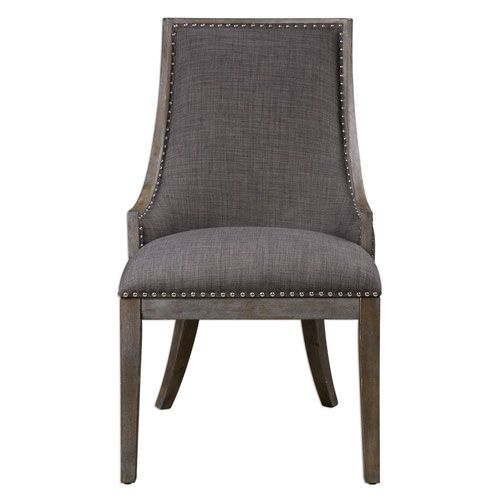 Best Aidrian Charcoal Gray Accent Chair Linen Accent Chairs 400 x 300