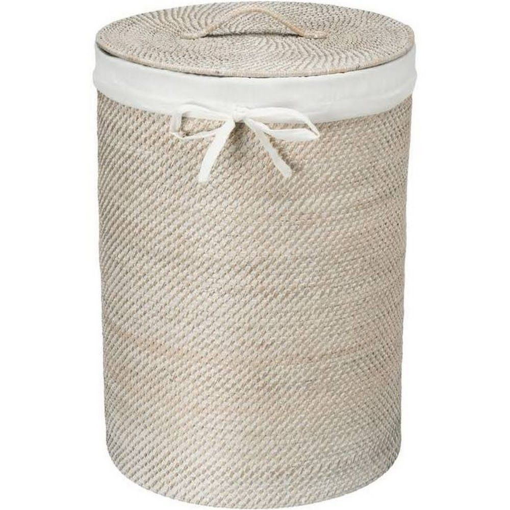 Kouboo Round Rattan White Wash Hamper With Liner Google Express