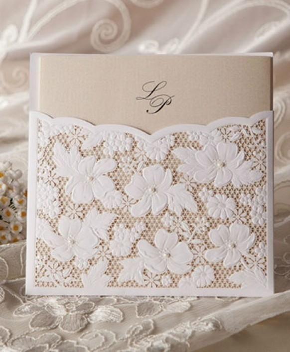 Weddbook Cheap Flower Lace Wedding Invitation With Pearl