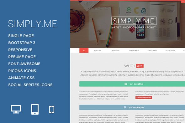 Simply.Me is a single-web page type private template designed to offer the consumer with a easy, elegant and up-to trendy normal private web site. Constructed on Twitter Bootstrap, Simply.Me is loaded with all of the framework's options custom-made for this particular template.