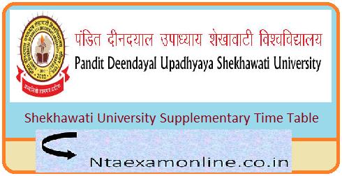Shekhawati University Supplementary Time Table 2019 – PDUSU