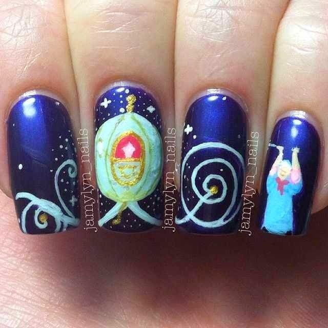 Cinderella nails nailart by Jamylyn Nails: https://www.facebook.com - Lovely Cartoon Themed Nails For The Week Cinderella Nails
