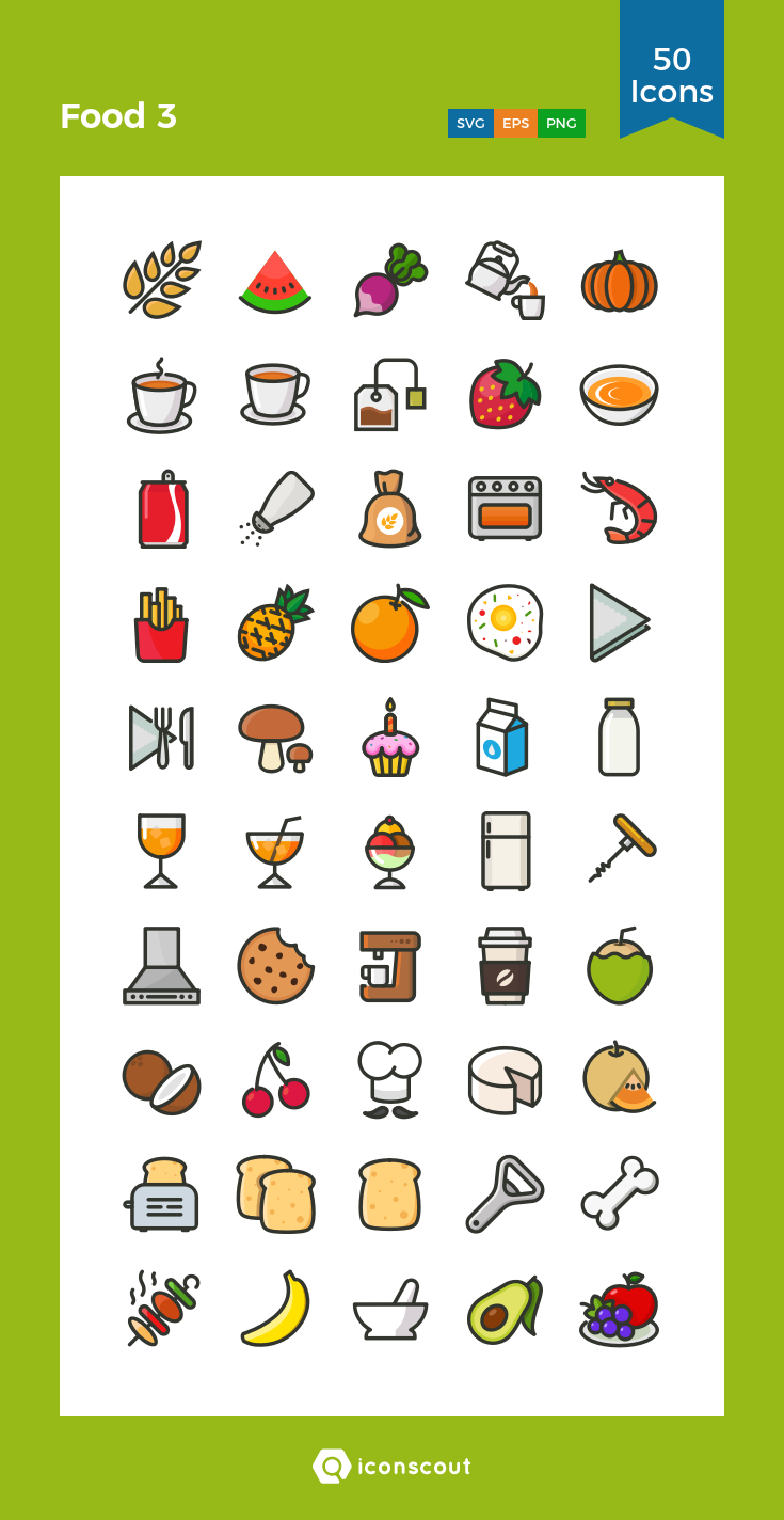 Food 3 Icon Pack 50 Filled Outline Icons สมุดออร์แกไน