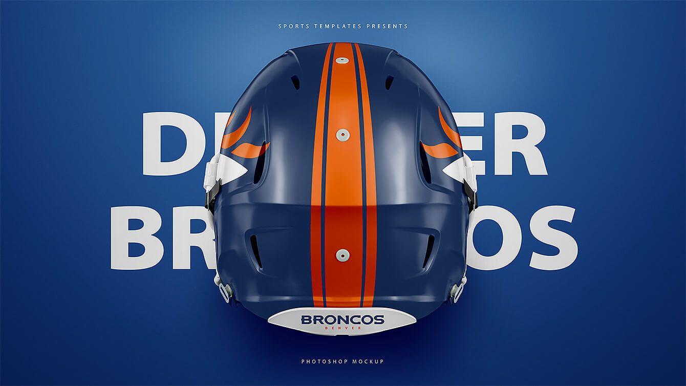 Download Denver Broncos Helmet Back Football Helmet Free Psd Template Mockup Freebie Football Helmets Sports Templates Football