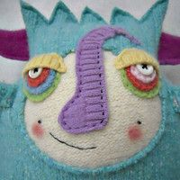 Stuffed Animal Monster Turquoise Wool Upcycled by sweetpoppycat