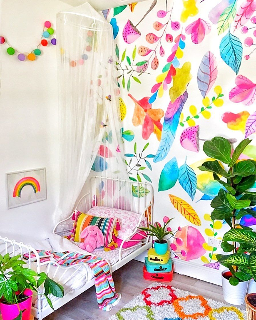 Cool Wallpapers For A Room: Explosion Of Colors Removable Wallpaper