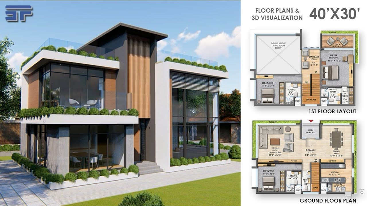 30 X40 House Plan With 3d Walkthrough Ii Modern Architecture Ii Floor Plans In 2020 Modern House Exterior Modern House Design House Designs Exterior