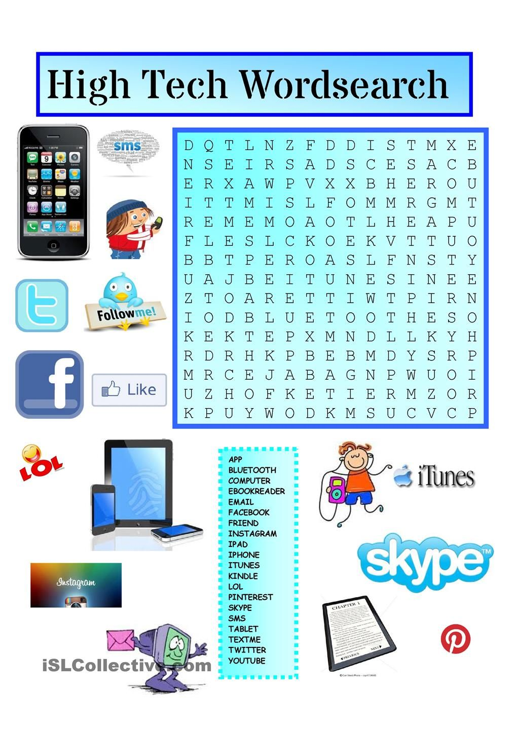 High Tech Wordsearch with KEY | ingilizce öğrenme ! in 2018 ...