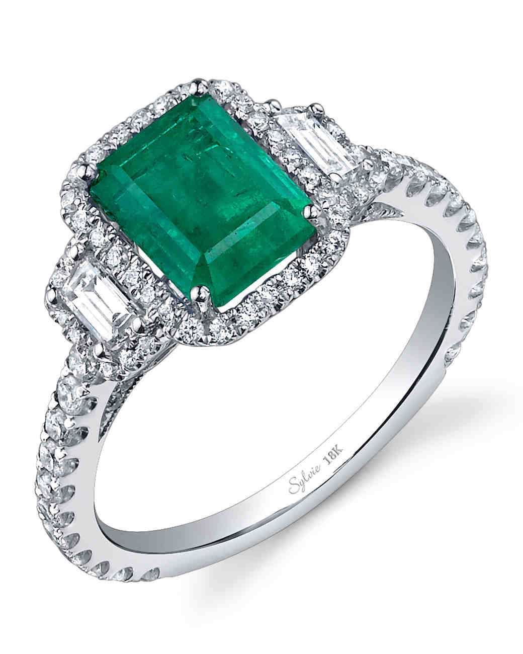 ring rings emerald art deco diamond engagement jewellery gemstone halo platinum