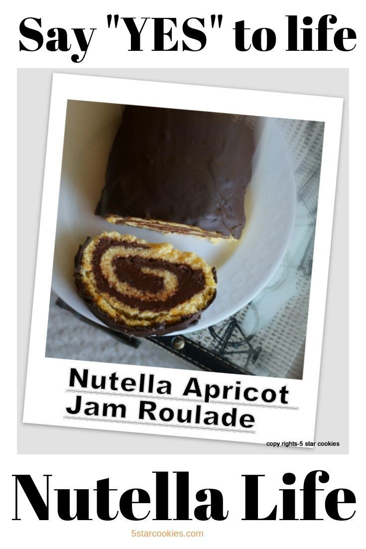 Nutella Apricot Jam Roulade Nutella Apricot Jam Roulade is the best roulade recipe from 5starcookies. Simple ingredients with tons of Nutella. Let me repeat: Tons of Nutella. Enjoy and share this recipe with all your family and friends.