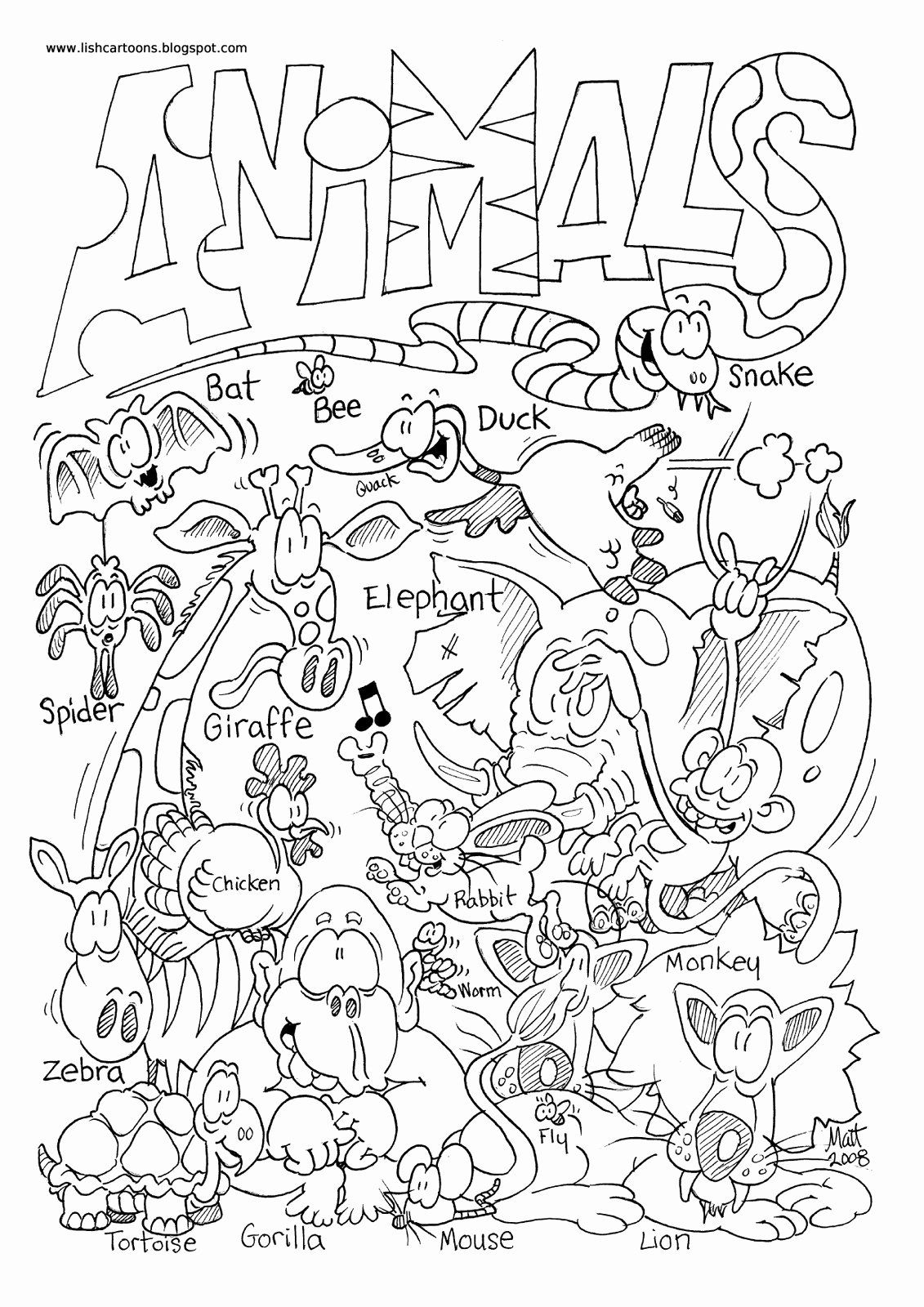 Printable Zoo Animals Coloring Pages In