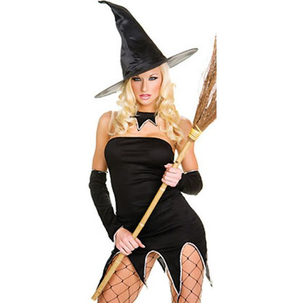 black sexy mini witch costume 24 liked on polyvore featuring costumes black - Salem Witch Halloween Costume