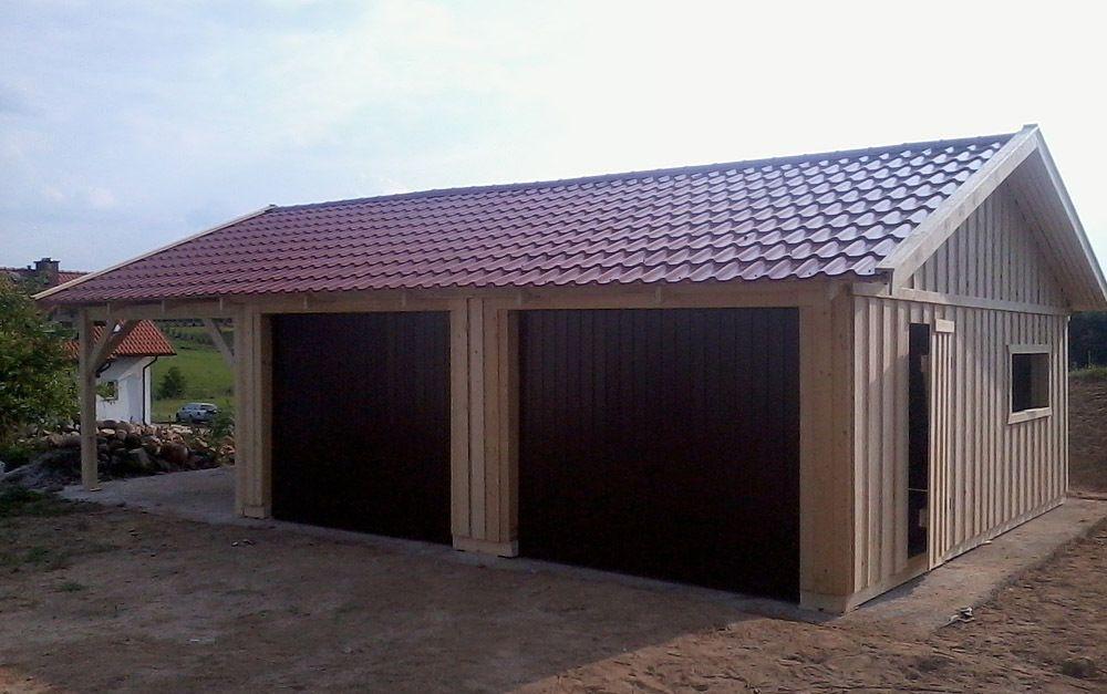 Doppelgarage Holzgarage Mit Satteldach Fertiggarage Mit Carport 9m X 6m Holzgarage Fertiggaragen Garage Bauen