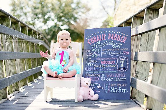Customizable Printable First Birthday Chalkboard Poster