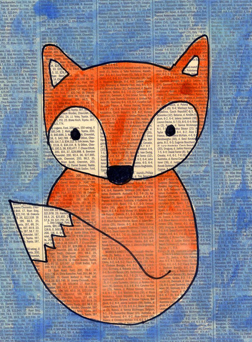 Fox On Newspaper Preschool Art Ideas Art Newspaper Art Art