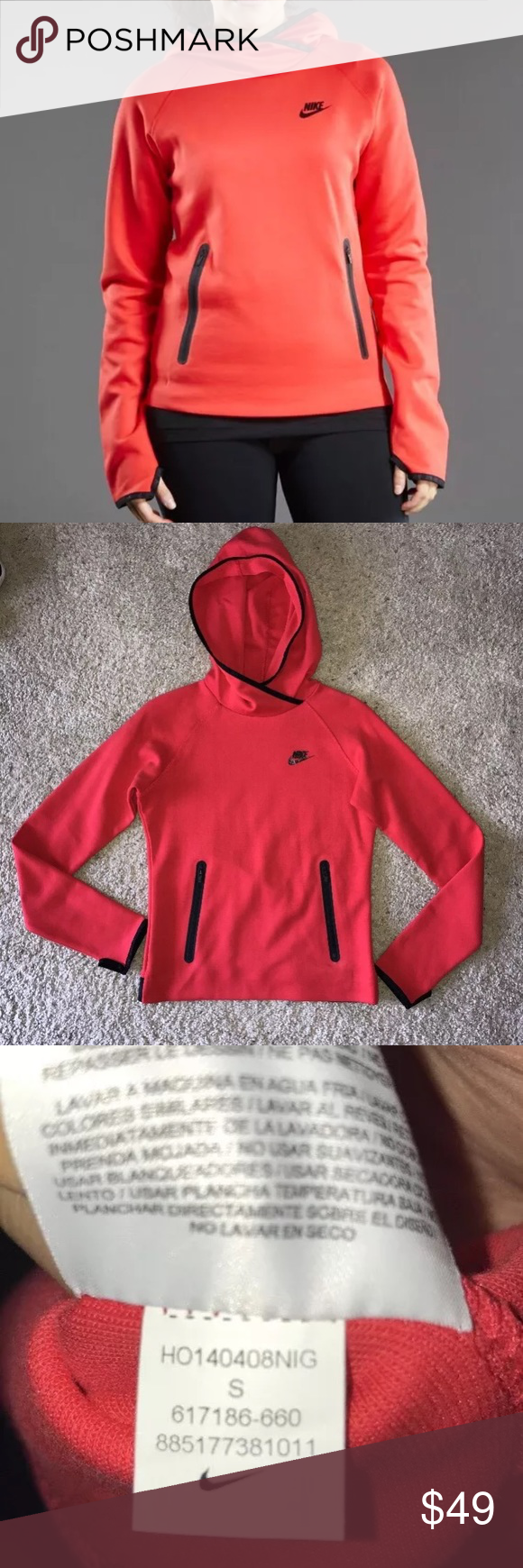 NIKE Women's Tech Fleece Pullover Hoodie Red S New without