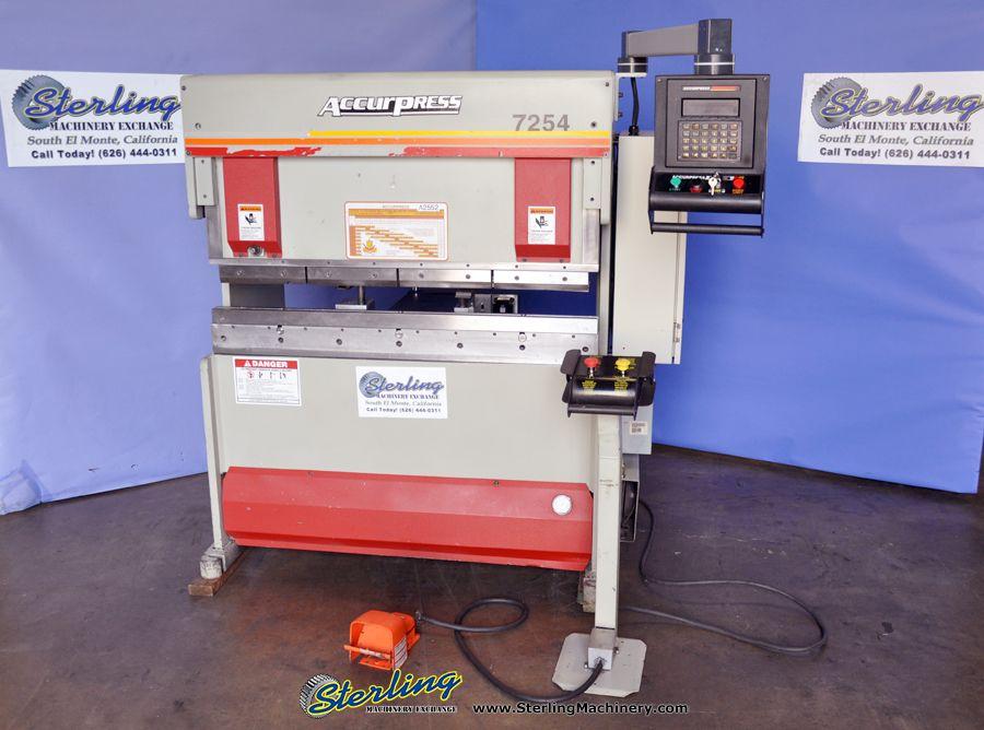 25 Ton x 4' Used Accurpress CNC Press Brake, Mdl  7254