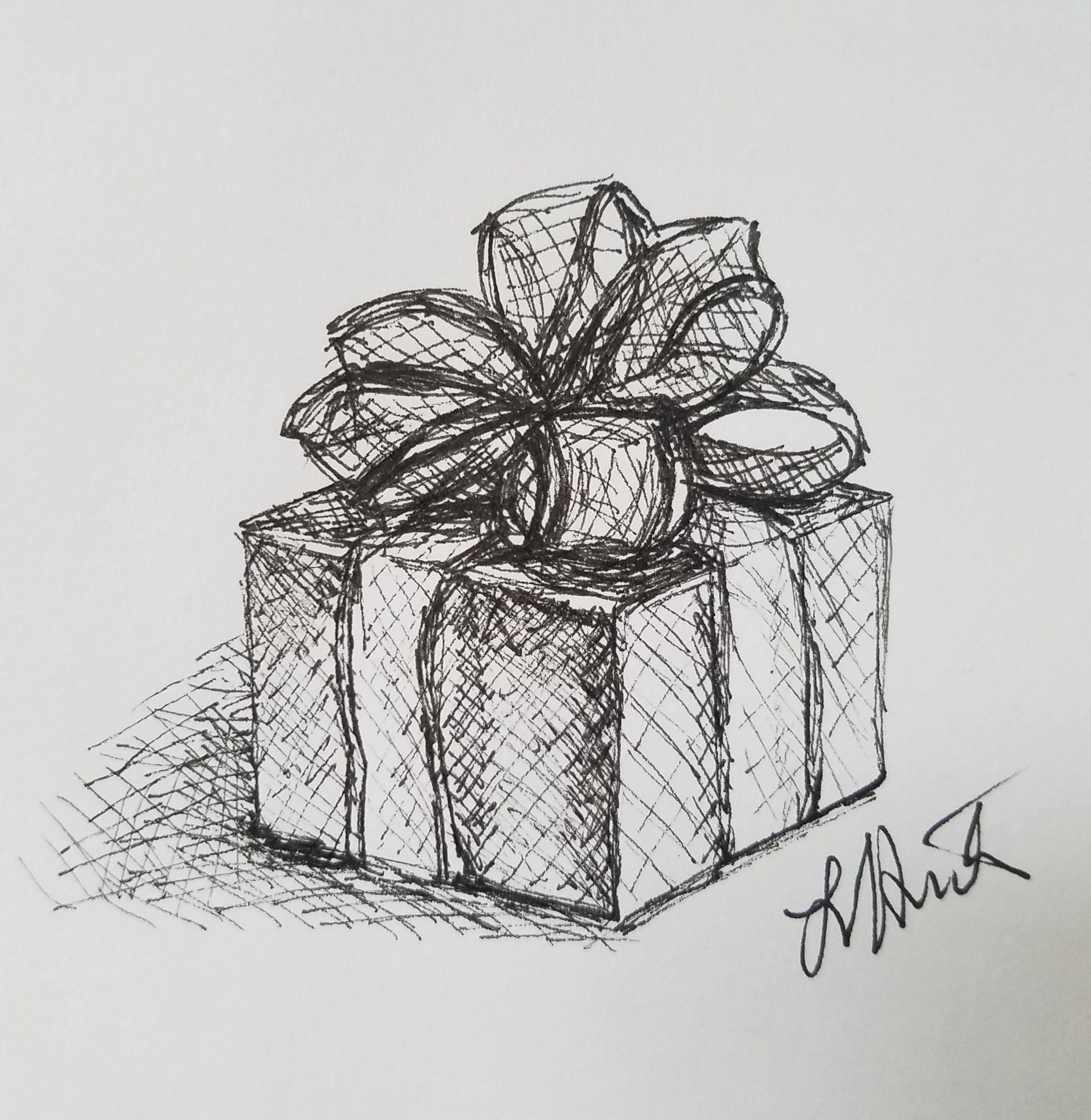 Gift by laura jaen present drawing original art ink sketch by laurajaenart on etsy