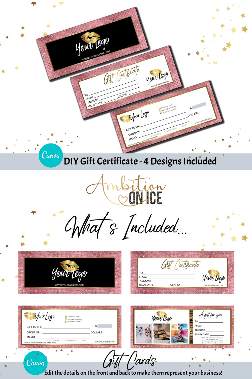 Diy Pink Diamond Sequin Gift Certificates Canva Template Etsy Gift Certificate Template Diy Branding Certificate Design