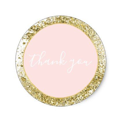 Blush rose pink gold confetti sparkle faux glitter classic round sticker gold gifts golden customize diy