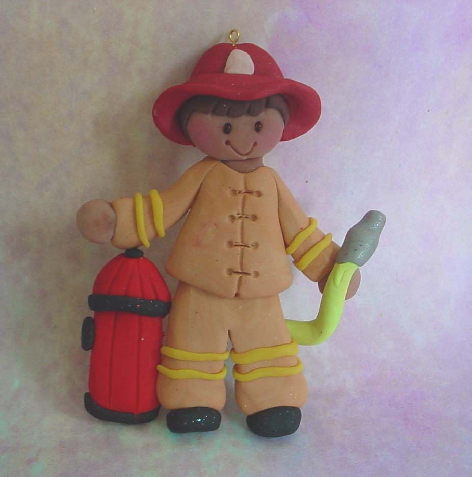 Personalized firefighter ornaments - Firefighter Christmas Ornament Hydrant Hose Helmet Polymer Clay Milestone Cake Topper Boy Dalmatian Dog Firehouse Fire Fighter Fireman 1st