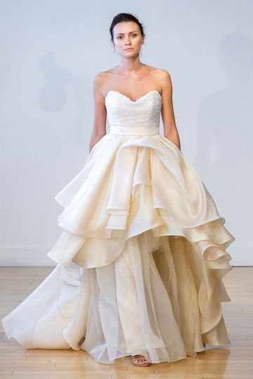 0a7083a99f Sweetheart wedding ball gown with sequined bodice and layered organza skirt