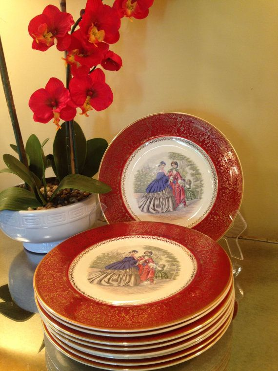 Items similar to Vintage Southern Belle Plates Rare Large Set of 9 Century by Salem Set Printed Dinner Plate 23K Gold Collectable Mid Century 1950s Dishes ... & Vintage Southern Belle Plates 23 Karat Gold Century by Salem Set ...