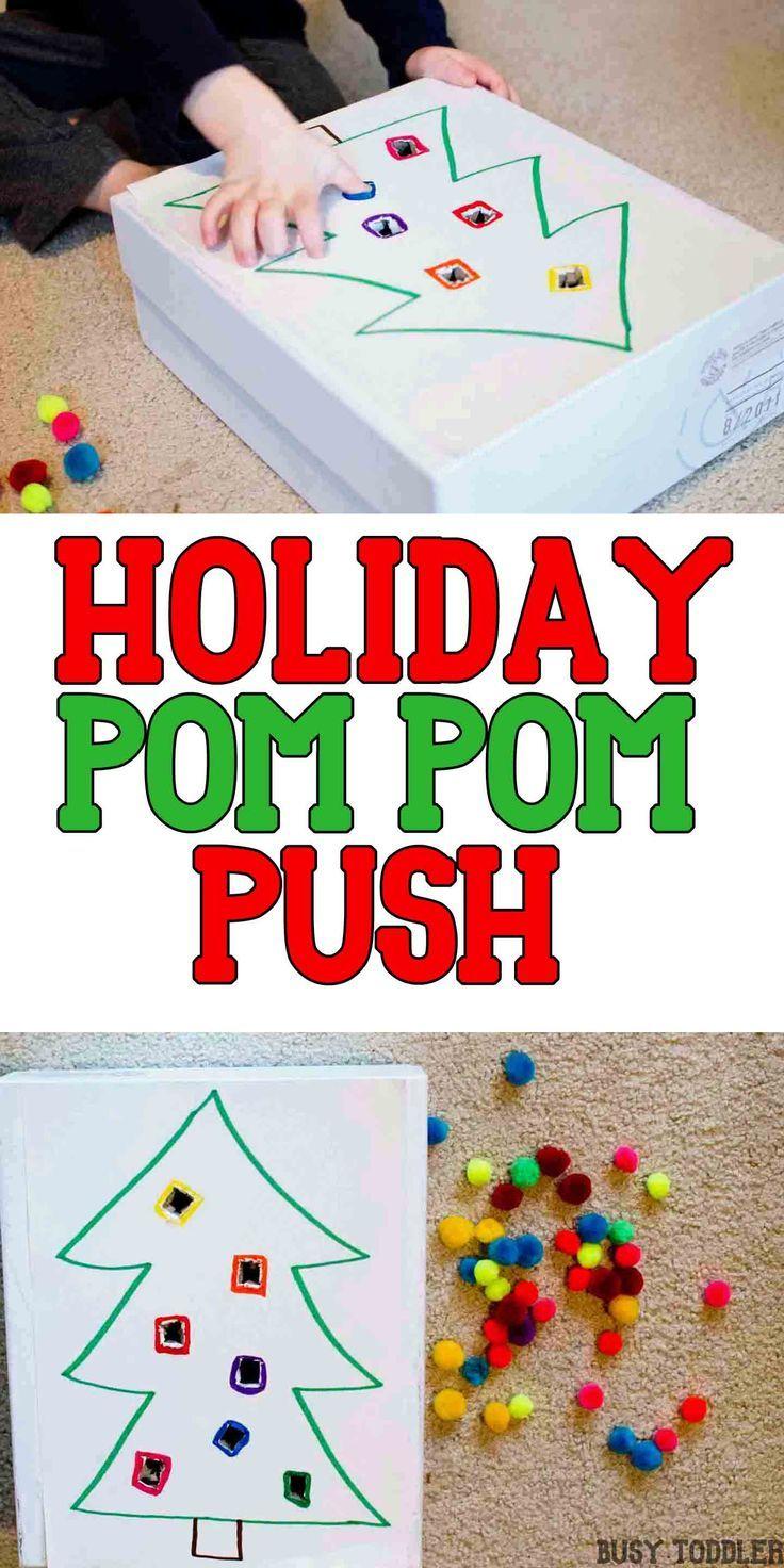 Holiday Pom Pom Push | Easy math, Motor activities and Math activities