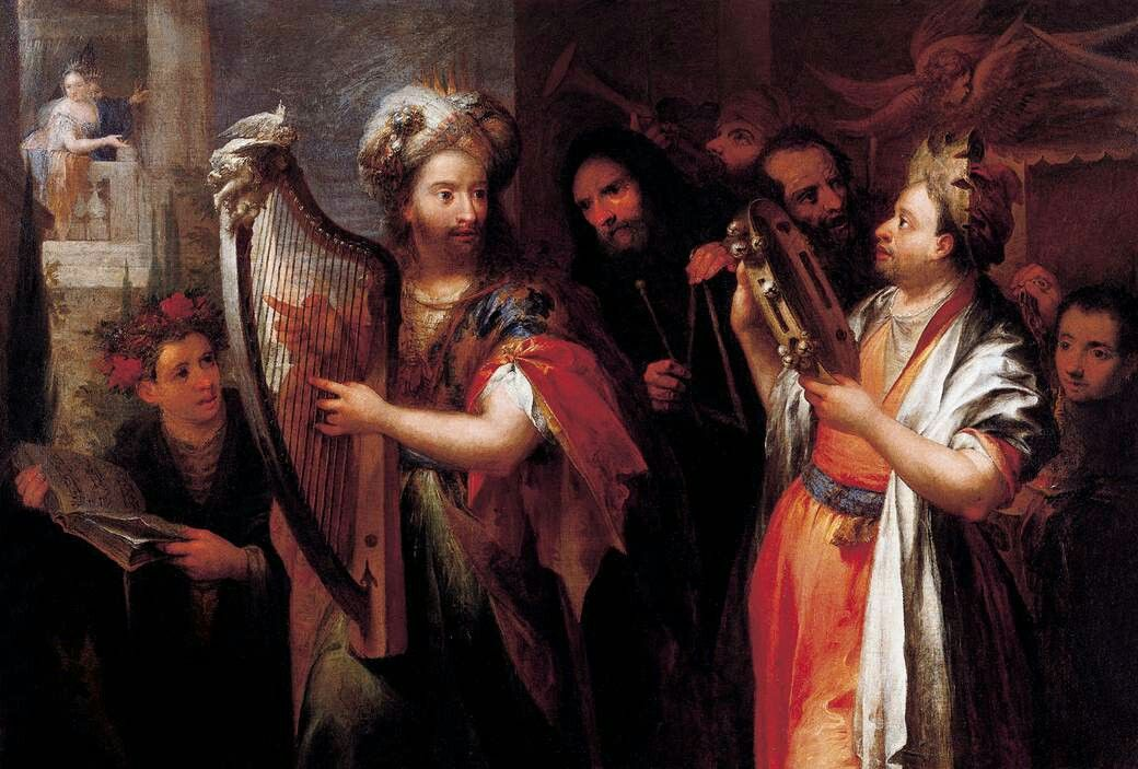 Andrea Celesti - King David Playing the Zither, Oil on canvas, 135 x 198 cm, Private collection