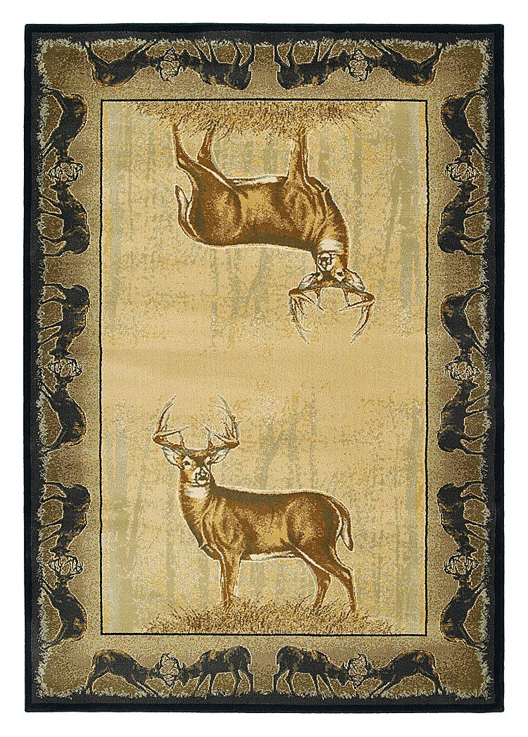 Buck Wear Wildlife Themed Area Rugs Believe Deer Hunting Lodge