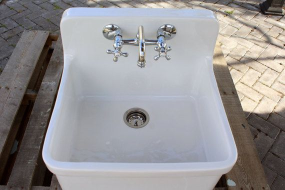 Small Vintage Style 24 High Back Farm Sink Apron Kitchen Farm Sink Sink Porcelain Kitchen Sink