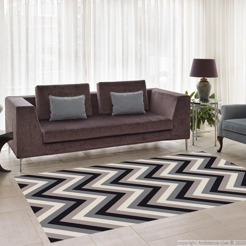 Tapis vinyle zig-zag - Noir gris marron - 140 x 200 cm – Stickers STICKERS SPECIAUX Tapis Vinyle - Ambiance-sticker