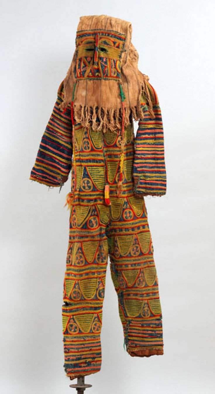 Africa | Costume with cloth mask from the Igbo people of Nigeria | Layered textiles, yarn and burlap