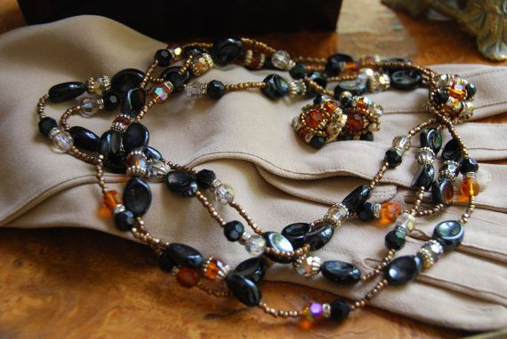 Vendome Necklace and Earrings  Caramel and Black by InimitableYou, $295.00