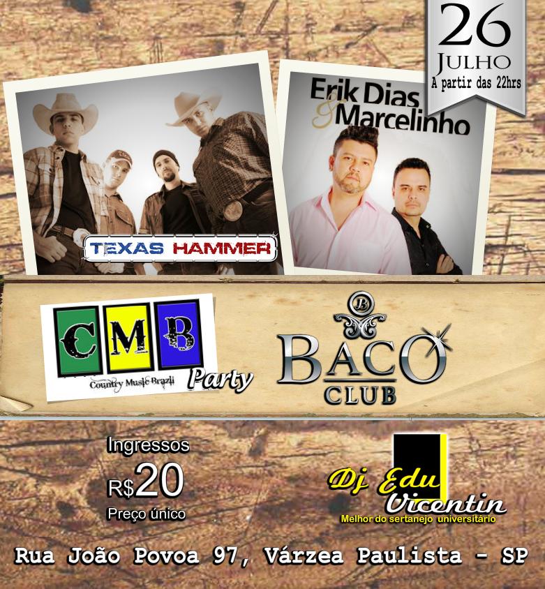 1ª CMB party em Varzea Paulista  Com as bandas Texas Hammer e Erik Dias e Marcelinho...  #CountryMusicBrazil #TexasHammer