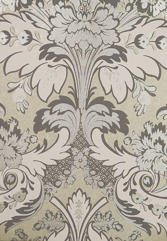 Powder room aldwych damask wallpaper stylish silver damask wallpaper with silverwhite gold grey