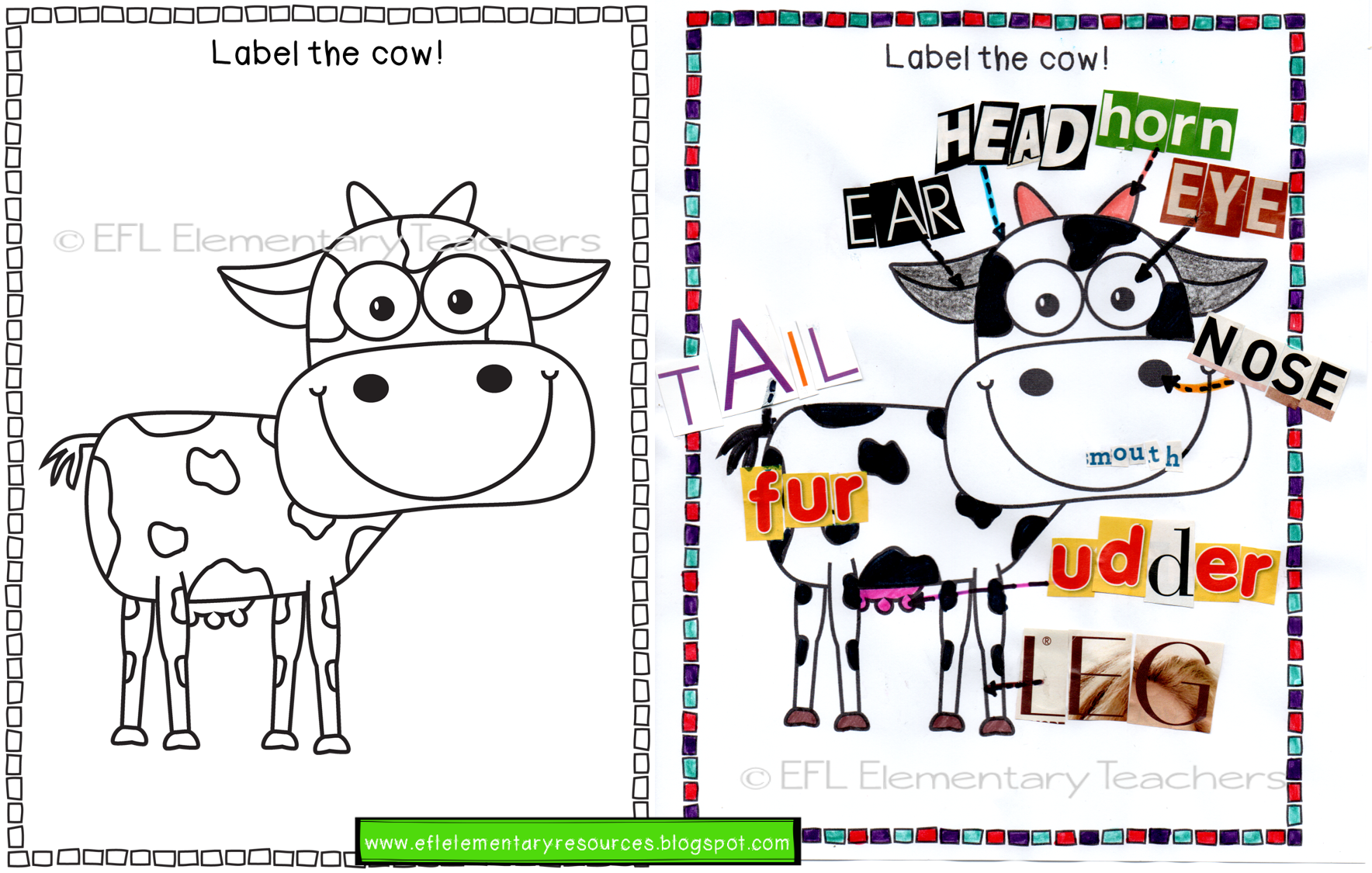 Esl Farm Animals Worksheets Label The Parts Of The Body I